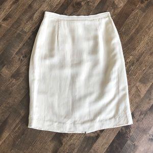 Ann Taylor linen straight pencil skirt natural